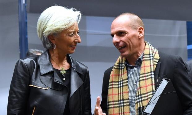 Lagarde e Varoufakis no Eurogrupo de 11 de fevereiro