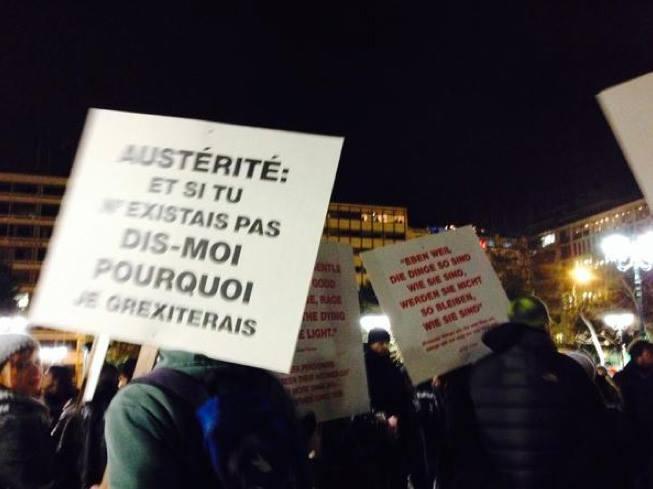 Concentração de apoio ao governo grego nas negociações com o Eurogrupo - Atenas