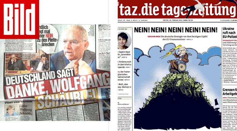 A estratégia de Schäuble em relação à Grécia tem leituras bem diferentes na imprensa alemã de hoje.