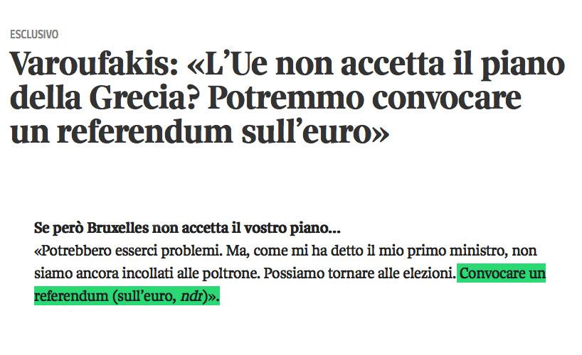 Jornal italiano põe referendo ao Euro na boca de Varoufakis