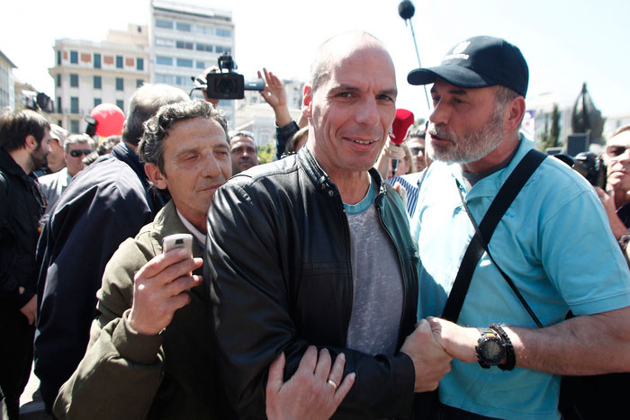 Varoufakis no 1º de Maio em Atenas