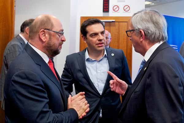 Martin Schulz, Alexis Tsipras e Jean Claude Juncker. Foto União europeia ©