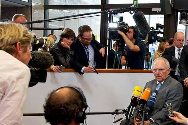 Wolfgang Schäuble à entrada do Eurogrupo