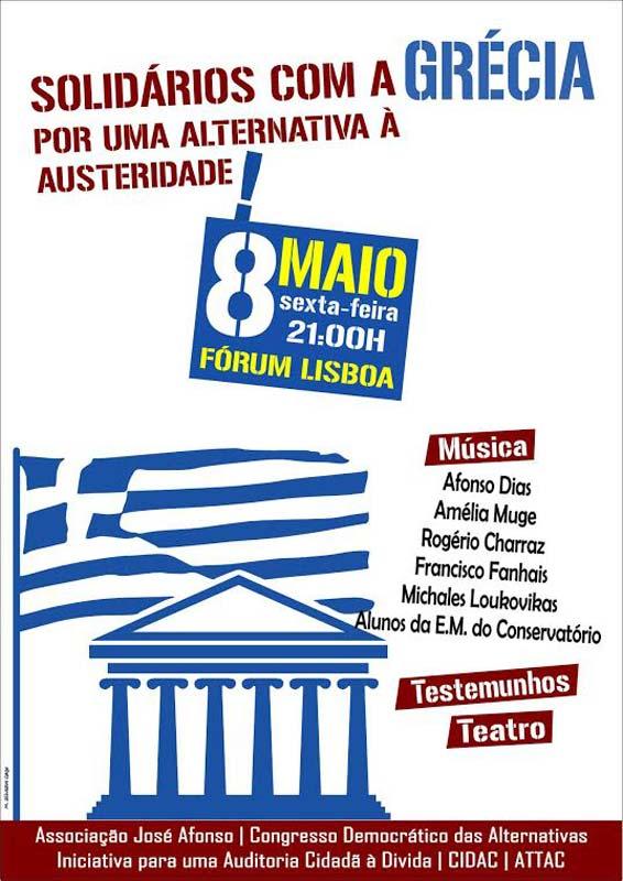 """Cartaz """"Solidários com a Grécia"""" - 8 maio no Fórum Lisboa"""