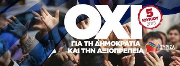Cartaz do Syriza para o referendo de 5 de julho