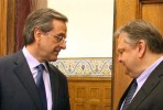 Samaras e Venizelos, líderes da Nova Democracia e PASOK