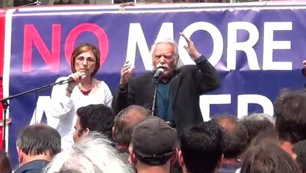Manolis Glezos na concentração de solidariedade com a Grécia em Amsterdão, 21 junho 2015