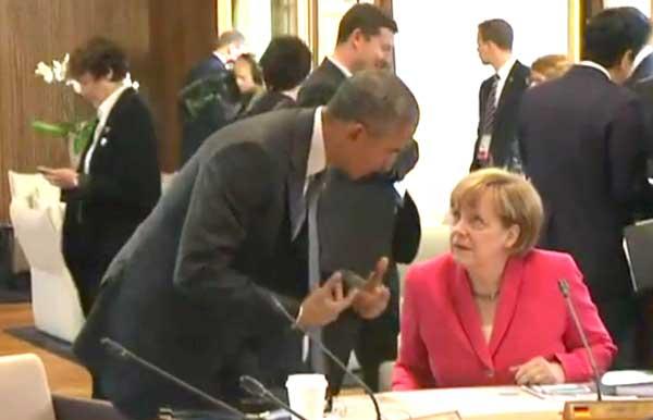 Obama e Merkel na cimeira do G7 na Alemanha. Junho 2015