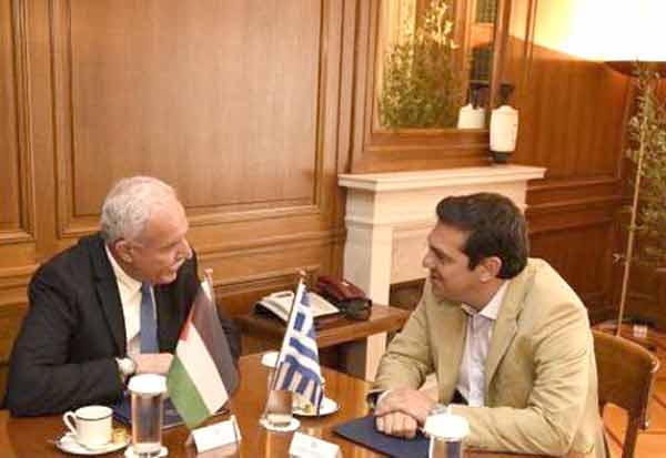 Alexis Tsipras e Ryiad al-Maliki em Atenas