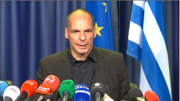 Varoufakis na conferência de imprensa do Eurogrupo - 27 junho 2015