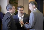 Draghi, Tsipras e Dijsselbloem. Foto União Europeia ©