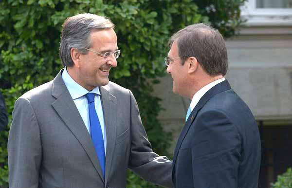 Antonis Samaras e Passos Coelho. Foto Nova Democracia/Flickr