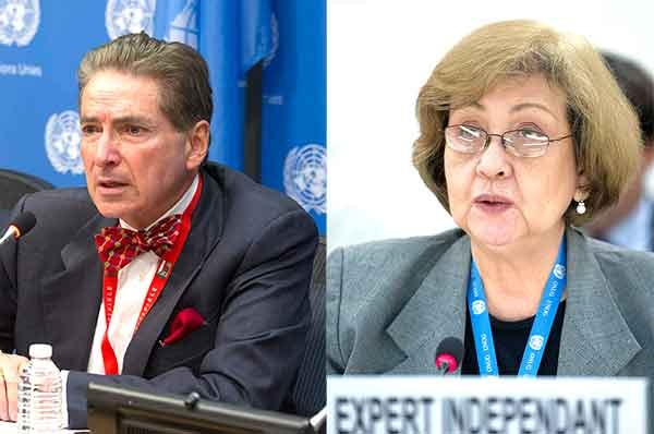 Alfred de Zayas e Virginia Dandan, peritos independentes da ONU.