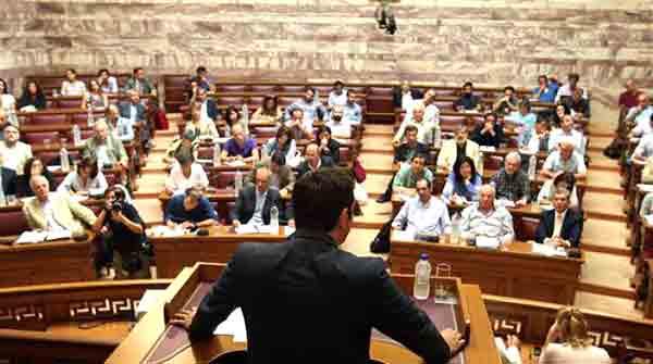 Reunião do grupo parlamentar do Syriza. Foto Left.gr