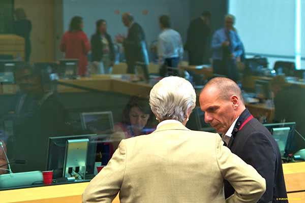 Christine Lagarde e Yanis Varoufakis. Foto União Europeia ©