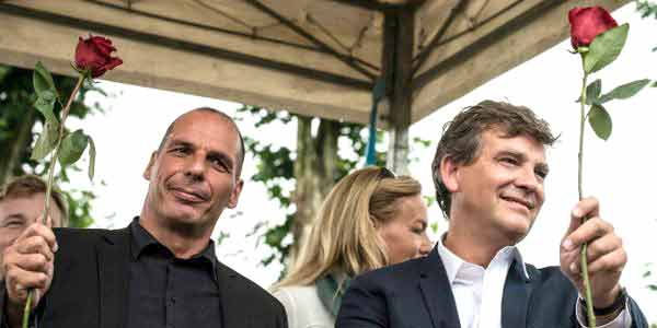 "Yanis Varoufakis na ""Festa da Rosa"", promovida pelo socialista francês Arnaud Montebourg."