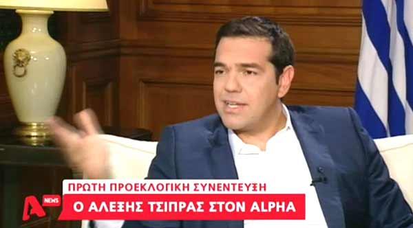 Alexis Tsipras na entrevista à Alpha TV