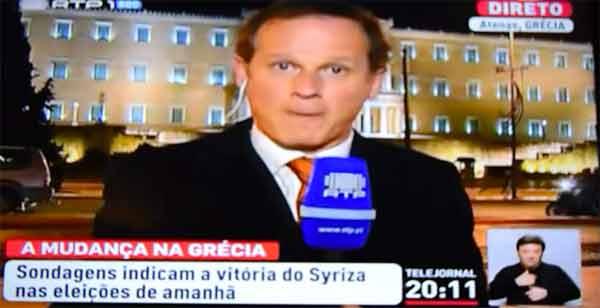 José Rodrigues dos Santos na reportagem antes das eleições de janeiro na Grécia