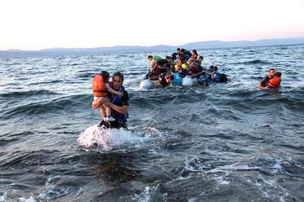 Refugiados chegam à Grécia