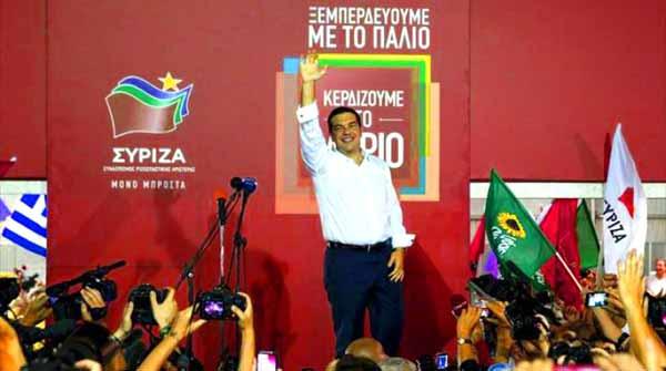 Alexis Tsipras na noite eleitoral. Foto Left.gr