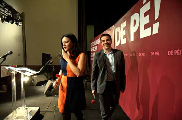 Alexis Tsipras num comício do Bloco em 2014. Foto Paulete Matos