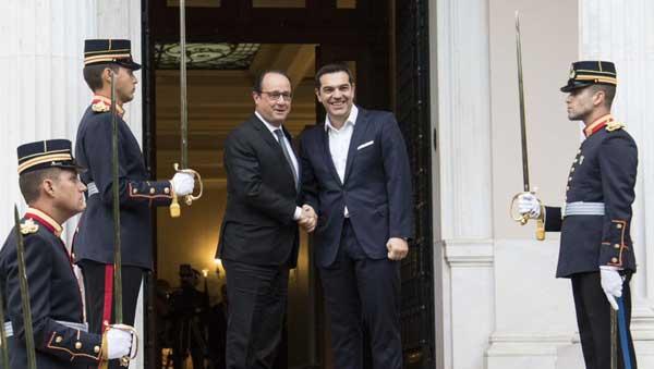 François Hollande e Alexis Tsipras. Foto no Twitter de Alexis Tsipras
