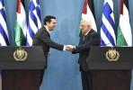 Alexis Tsipras e Mahmoud Abbas em Ramallah, Palestina