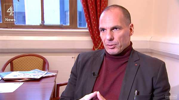 Yanis Varoufakis entrevistado pelo Channel 4 britânico