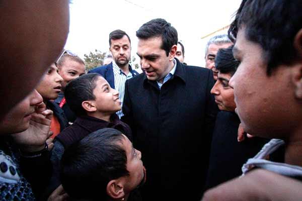 Tsipras visita centros de acolhimento de refugiados nas ilhas gregas. Foto Leftgr