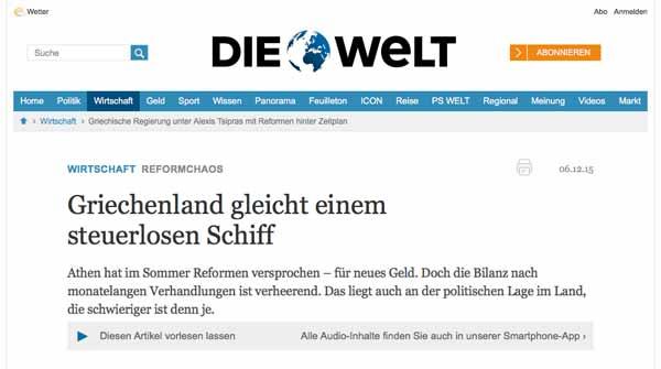 Grécia é navio à deriva, diz Die Welt