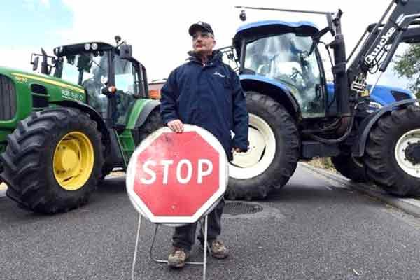 Agricultores gregos em luta.