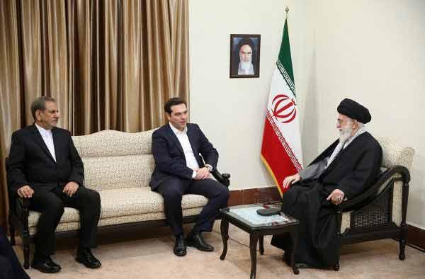 Alexis Tsipras e Ali Khamenei em Teerão.