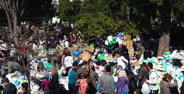 Solidariedade com os refugiados na Praça Syntagma