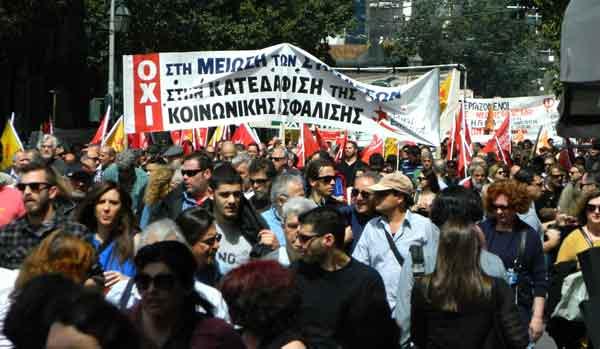 Greve da Função Pública na Grécia, manifestação em Atenas. Foto Katja Lihtenvalner/Twitter