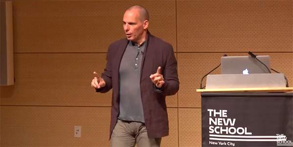 Conferência de Yanis Varoufakis na New School for Social Research em Nova Iorque